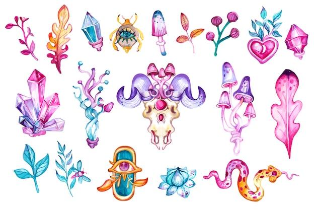 Akwarela boho i magia ręcznie rysowane zestaw