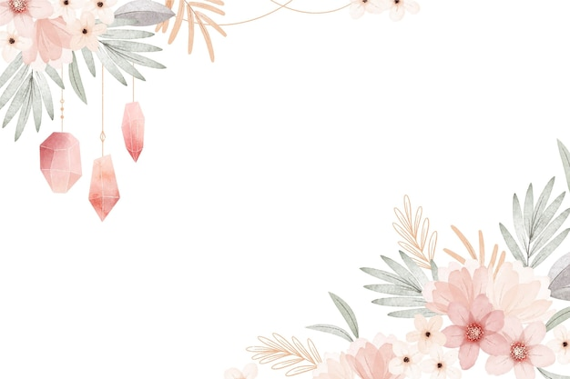 Akwarela boho kwiatowy tło