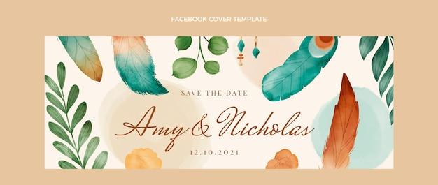 Akwarela boho ślubna okładka na facebooku