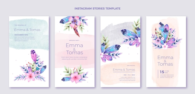 Akwarela boho ślubne historie na instagramie