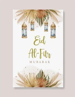 Akwarela boho szablon karty z pozdrowieniami eid mubarak