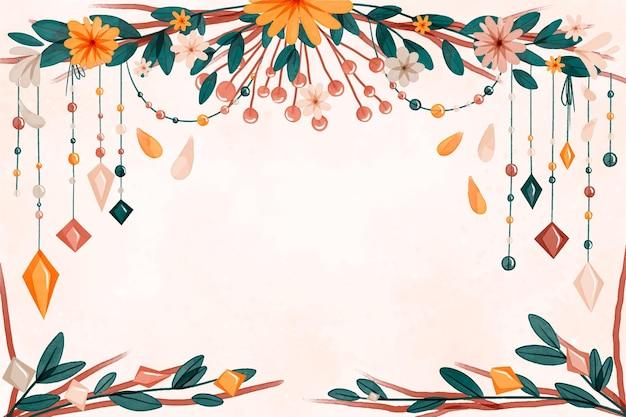 Akwarela boho tło z kwiatami i liśćmi