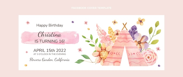 Akwarela boho urodziny okładka na facebooku