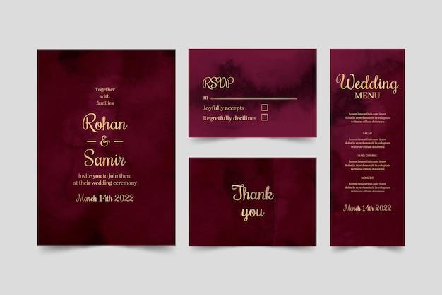 Akwarela bordowy i złoty pakiet papeterii ślubnej