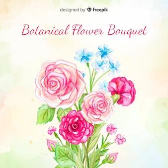 Akwarela botaniczny bukiet kwiatów