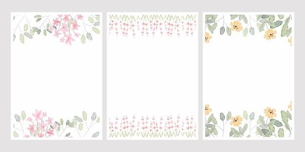 Akwarela botaniczny rysunek liści wieniec z drobnymi różowymi i żółtymi kwiatami