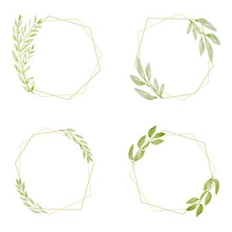 Akwarela botaniczny rysunek zielony liść wieniec wieniec z kolekcji złotej ramie