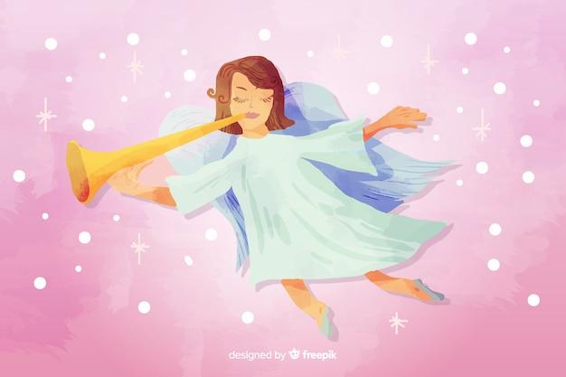 Akwarela boże narodzenie anioł z trąbką