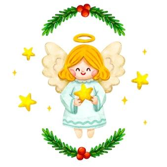 Akwarela boże narodzenie anioł