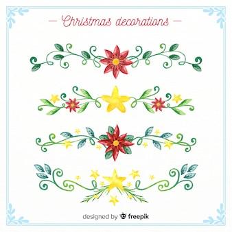 Akwarela boże narodzenie dekoracje kwiatowe kolekcji