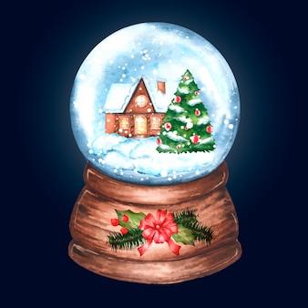Akwarela boże narodzenie glob śnieżki