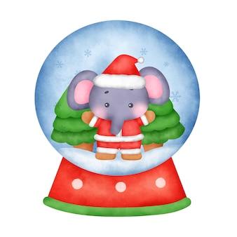 Akwarela boże narodzenie kula śnieżna ze słoniem.