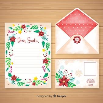 Akwarela boże narodzenie list i szablon koperty
