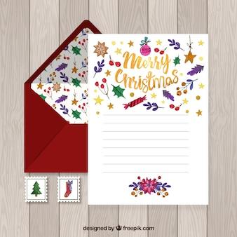 Akwarela boże narodzenie list szablon z czerwoną kopertę