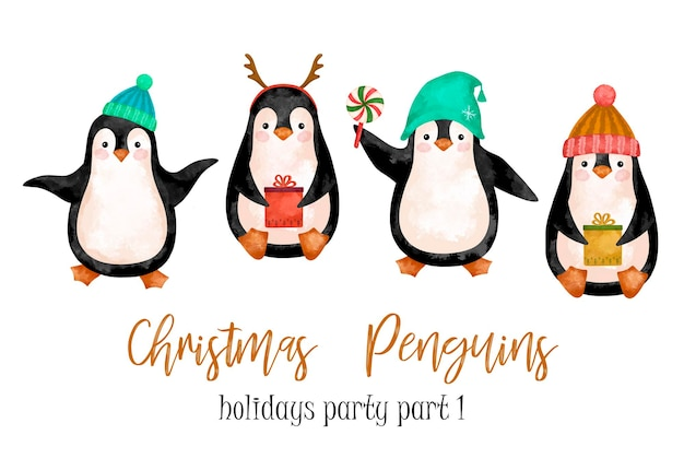 Akwarela boże narodzenie pingwiny cartoon zestaw clipart