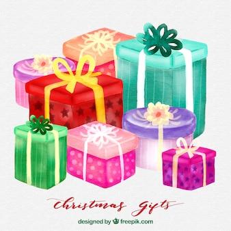 Akwarela boże narodzenie prezenty tle