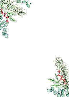 Akwarela boże narodzenie prostokątna ramka z zimowymi gałęziami świerku i sosny, jagody i gałęzie eukaliptusa.