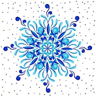 Akwarela boże narodzenie śnieżynka tło