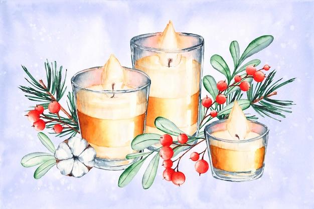 Akwarela boże narodzenie świeca tło