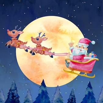 Akwarela boże narodzenie święty mikołaj latający na saniach z dwoma reniferami i pełni księżyca w tle.