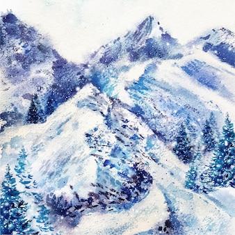Akwarela boże narodzenie tło z górami