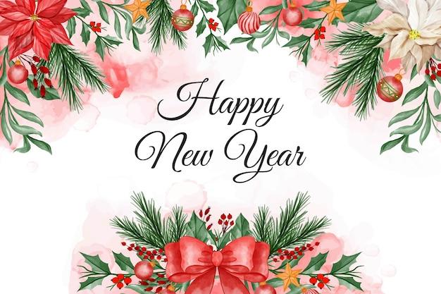 Akwarela boże narodzenie tło z kwiatem poinsecji, liśćmi, jagodami, wstążką i bożonarodzeniową kulą świetlną
