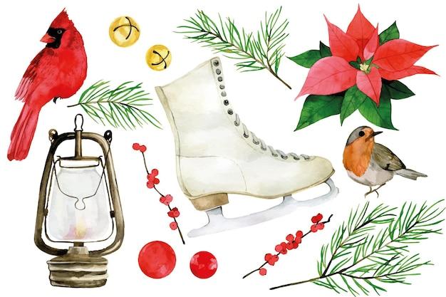 Akwarela boże narodzenie zima zestaw zima ptaki łyżwy dzwonki jodłowe gałęzie
