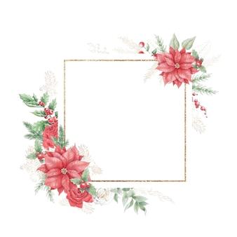 Akwarela boże narodzenie złote ramki z kwiatami, różami i poinsecją