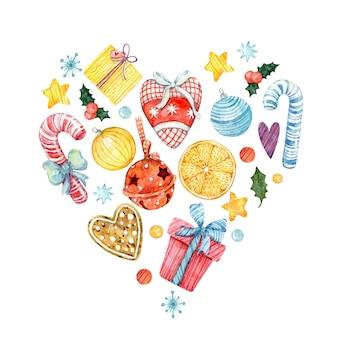 Akwarela bożonarodzeniowe serce śliczny świąteczny wzór z abstrakcyjnym sercem kolorowa kartka świąteczna
