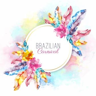 Akwarela brazylijskie karnawałowe pióra z napisem