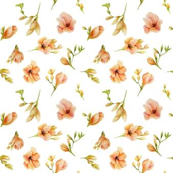 Akwarela brzoskwinia frezja kwiaty wzór