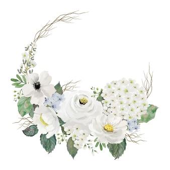 Akwarela bukiet białych kwiatów i zielonych liści z ramą gałęzi częściowego koła