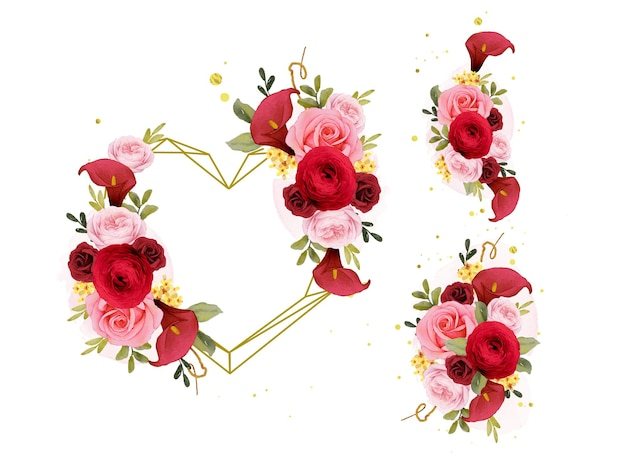 Akwarela bukiet i wieniec miłosny z czerwonej róży lilii i jaskieru