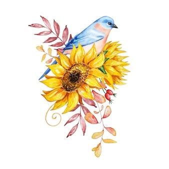 Akwarela bukiet, ilustracja botaniczna, jesienna kompozycja, z kwiatów, z ptakiem, słonecznikami, jesiennymi liśćmi i jagodami na białym tle