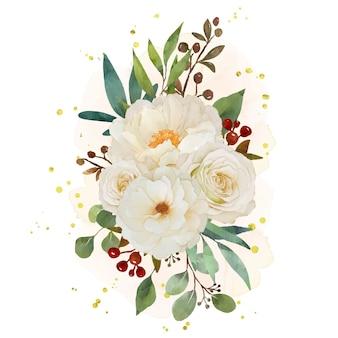 Akwarela bukiet kwiatów białej róży i piwonii