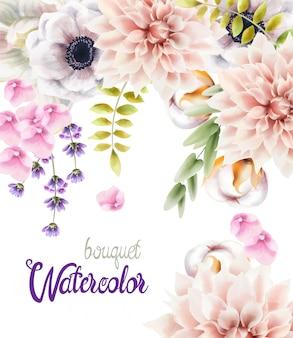 Akwarela bukiet kwiatów i liści