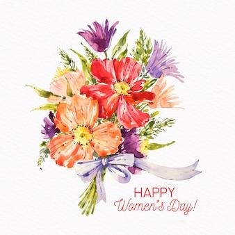 Akwarela bukiet kwiatów na dzień kobiet