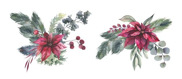 Akwarela bukiet kwiatowy z czerwonymi kwiatami bożego narodzenia.