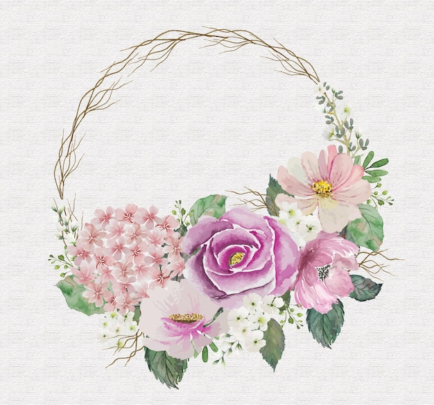 Akwarela bukiet róż vintage mix z okrągłą małą drewnianą gałązką