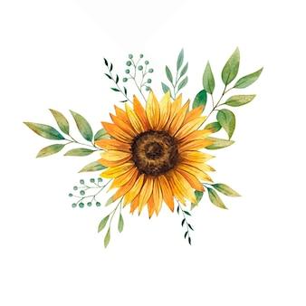 Akwarela bukiet słoneczników z kwiatowymi liśćmi