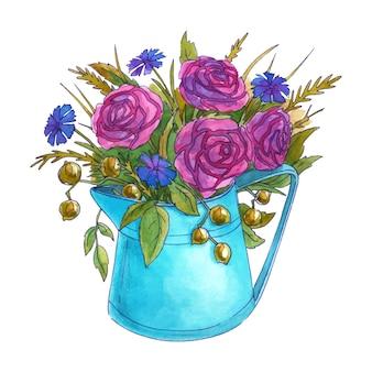 Akwarela bukiet wiosennych kwiatów w konewce. róże, chabry i liście. pojedynczo na białym tle. ręcznie rysowane ilustracji.