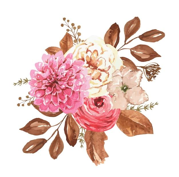 Akwarela bukiet z jesiennych kwiatów i suszonych liści jesienny bukiet