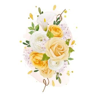 Akwarela bukiet żółtej róży lilii i kwiatu jaskier