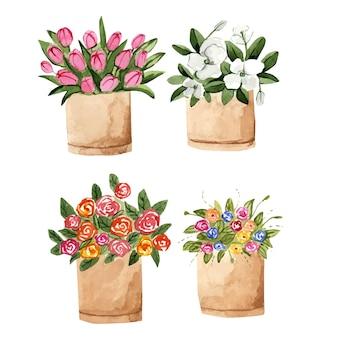 Akwarela Bukiety Kwiatów W Tekturowym Pudełku Premium Wektorów