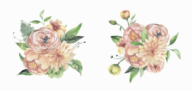 Akwarela bukiety kwiatowe różowe