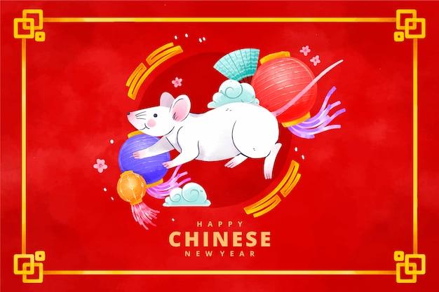 Akwarela chiński nowy rok metalowy szczur