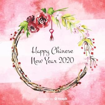 Akwarela chiński nowy rok