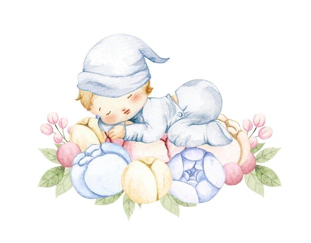 Akwarela chłopca śpi na kwiatku