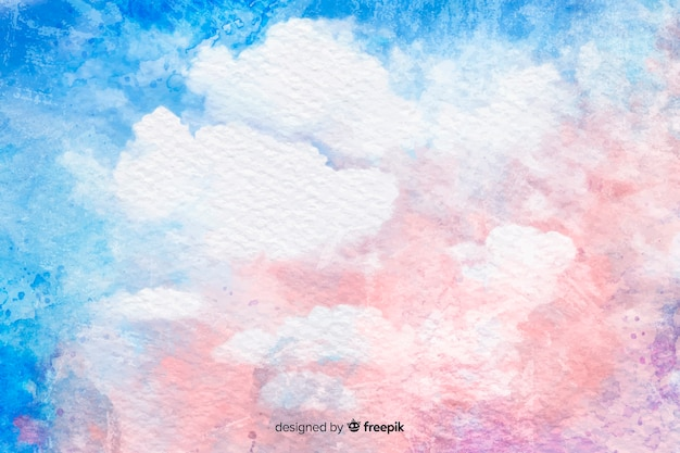 Akwarela chmury na tle niebieskiego nieba