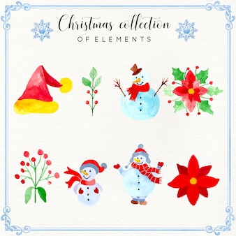 Akwarela christmas element collection